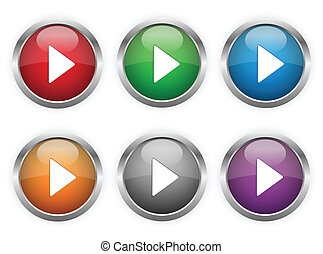 Play web buttons in six colors.