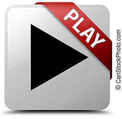 Play white square button red ribbon in corner