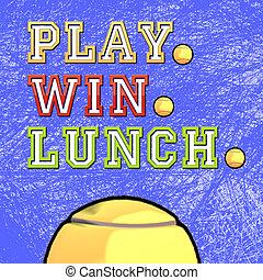 Play, Win, Lunch Tennis - Cute tennis ball with Play, Win,...