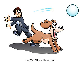 play with dog over isolated white - illustration of a ...