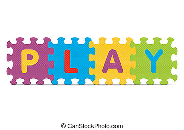 PLAY written with alphabet puzzle