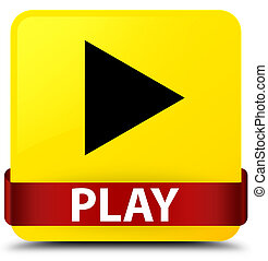 Play yellow square button red ribbon in middle