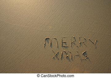playa., alegre, escrito, meridional, hemisphere., arena, ...