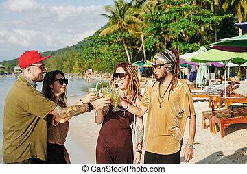 playa, amigos, el gozar, fiesta