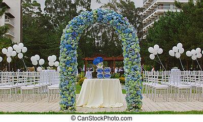 playa, arco, boda