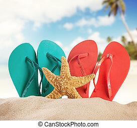 playa arenosa, accesorios, mar, mancha
