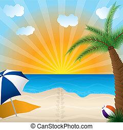 playa, arenoso, vista