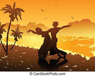 playa, bailando