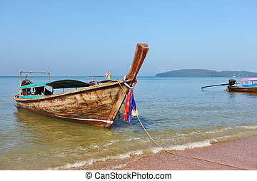 playa, barco, mar, cielo, ...
