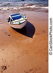 playa, barco, ocaso, 4