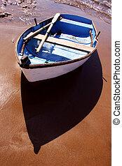 playa, barco, ocaso