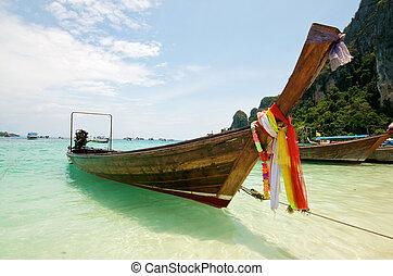 playa, barco, tailandia