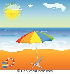 playa, belleza, con, paraguas, vector, ilustración