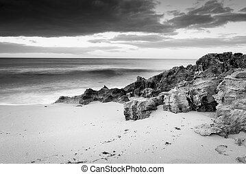 playa, blanco, negro, tempestuoso