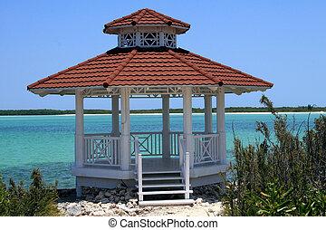 playa, cabaña