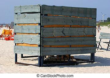 playa, cabine, en, playa arenosa