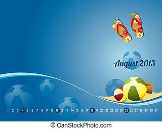 playa, calendario, para, agosto, 2013