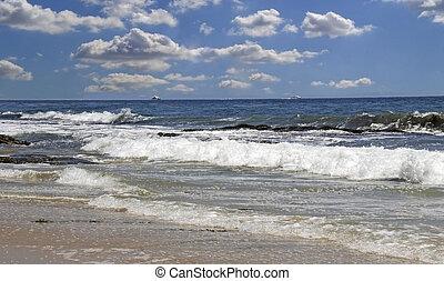 playa, california, escena, meridional