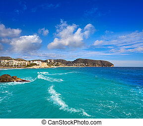playa, castillo, alicante, moraira, aldea