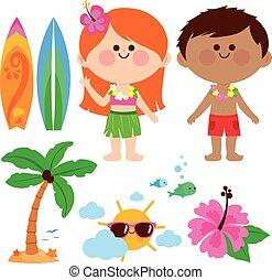 playa, children., vacaciones, ilustración, verano, elements...