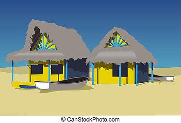 playa, chozas