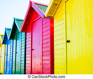 playa, colorido, chozas