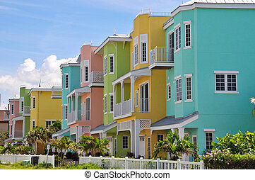 playa, colorido, condominios