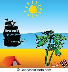 playa, con, viaje, barco, vector, ilustración