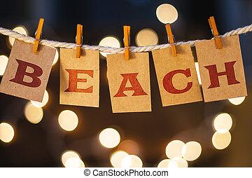 playa, concepto, acortado, tarjetas, y, luces