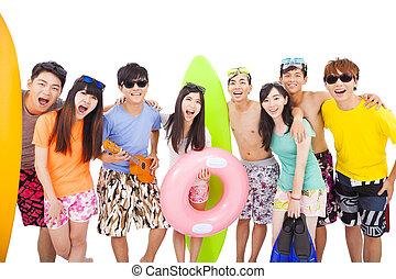 playa, concepto, grupo, vacaciones, joven, verano, feliz