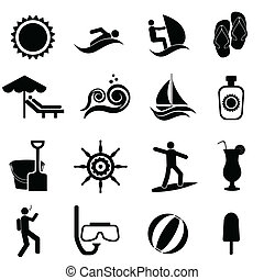 playa, conjunto, viaje, náutico, verano, icono