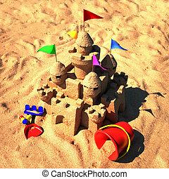 playa de arena, castillo, juguetes