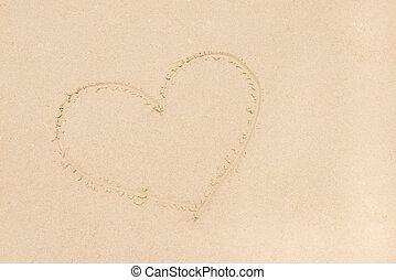playa de arena, como, forma corazón