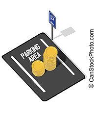 playa de estacionamiento, coins, (increasing, pr