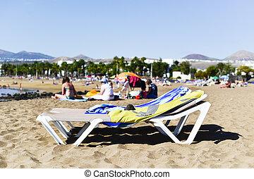 Playa de Matagorda beach in Lanzarote, Spain