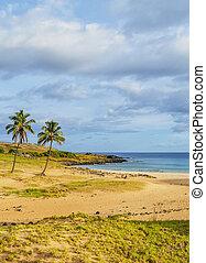 playa del anakena, en, isla de pascua, chile