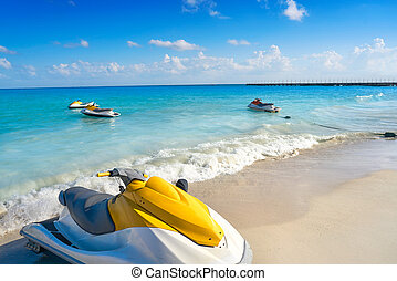 Playa del Carmen beach in Riviera Maya Caribbean at Mayan...
