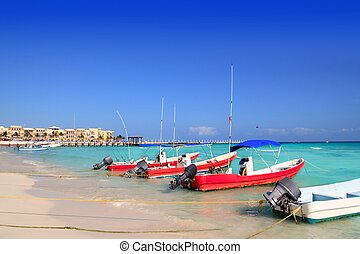 playa del Carmen mexico Mayan Riviera beach boats Caribbean ...