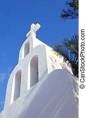 Playa del Carmen white Mexican church archs belfry