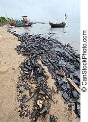 playa, derramar, aceite, contaminado