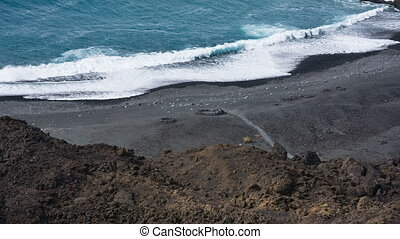 Playa Echentive In La Palma, Spain - High angle view to the...