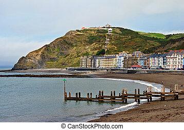 playa, edificios, colorido, norte, aberystwyth
