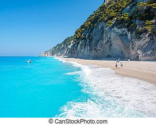 playa, egremni, greece), (lefkada