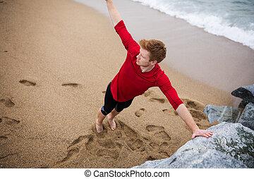 playa, ejercitar