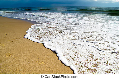 playa, en, ocaso