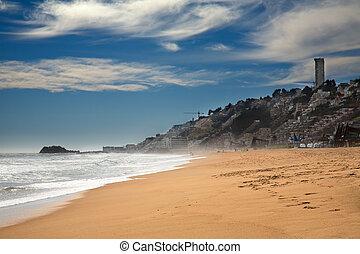 playa, en, vina, mar. de supr, chile