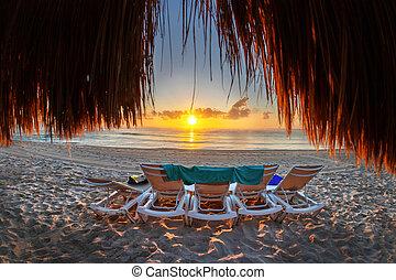 playa, encima, salida del sol, costa, caribe, méxico, vacío