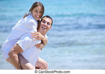 playa, feliz, diversión, pareja, tener