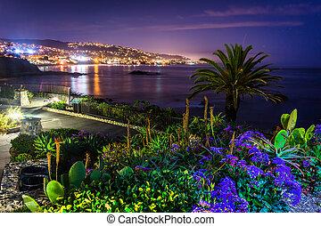 playa, flores, heisler, laguna, vista, parque, noche