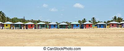 playa., goa, colorido, india, chozas, agonda, sur